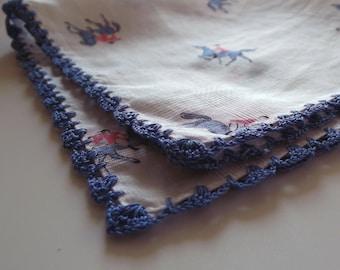 A Vintage Blue Crocheted Edged Cotton Lawn Handkerchief - Dainty Ladies' Hanky