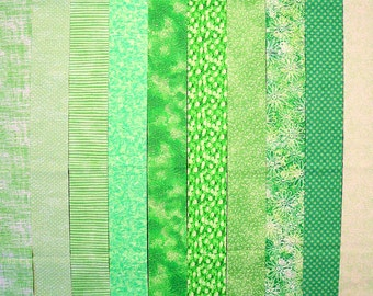 BRIGHT GREEN Jelly Roll Strips, 100% cotton,  Prewashed Quilt  Fabric  (#C/68A)