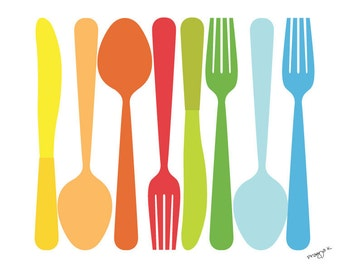 Kitchen art work, Kitchen Decor, Spoon, Fork, Knife, Art for Kitchen, Kitchen Print, Art for kitchen, Kitchen wall decor, Food print