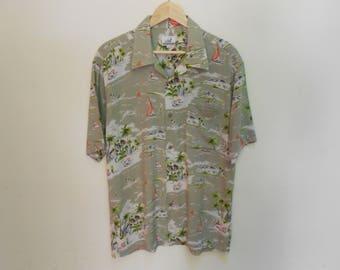 carving aloha hawaiian shirt vintage carving aloha hawaiian shirt sun surf kamehameha