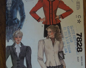 McCalls 7828, size 8, lined, fitted jackets, UNCUT sewing pattern, craft supplies,
