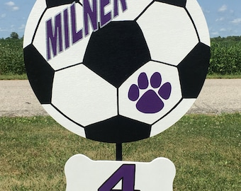 Soccer personalized wood yard sign. Personalized with name, number, school colors handmade, custom.