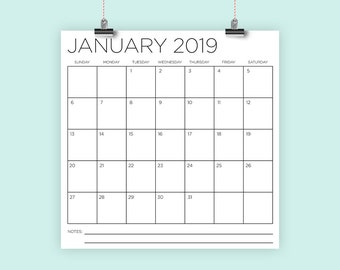 Square 2019 Calendar Template Style 1 | INSTANT DOWNLOAD | Large Monthly Printable Minimal Desk Calender | Prints up to 12 x 12 Inches