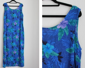 Vintage Blue Tropical Print Maxi Dress
