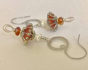 Handmade Sterling Silver Earrings with Artisan Lampwork in shades of Peach - OOAK