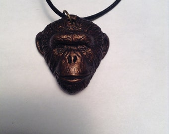 Knuckles Chimpanzee pendant necklace  bronze finish version