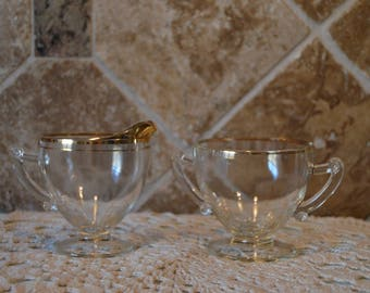 Old Gold Trim Glass Creamer And Sugar~Vintage~Some Gold Wear