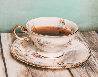 vintage tea cup photo, food decor, food photo, kitchen wall art, rustic decor, rustic art, farmhouse decor, Tea cup photo, kitchen decor
