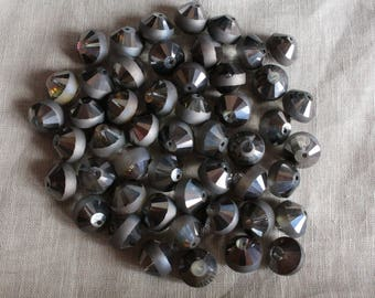 5 glass Bicone beads faceted and Electroplates transparent black LBP00188C