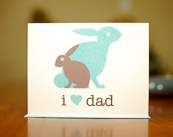 I Heart Dad - Baby & Papa Bunnies New Baby Card on 100% Recycled Paper