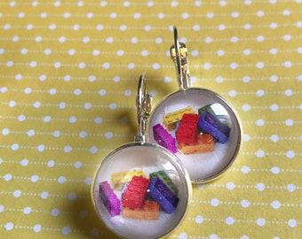 Lego glass cabochon earrings- 16mm