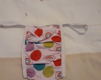 Adult Baby Waterproof   white cotton dots/pink plastic panties white
