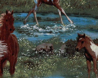 Horses in Field - 100% Cotton High Quality Fabric-Wild Wings Collection-Spring Creative