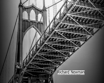Black and White St Johns Bridge, Portland Oregon, 11 x 14 photograph