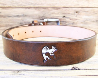 Belt without buckle genuine leather, Kokopelli