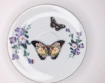 Purple Flower Rose Black Butterfly 3D Wall Plate Kitsch Display Art Sculpture Pattern for Wall Collage Decor Birthday Wedding Gift