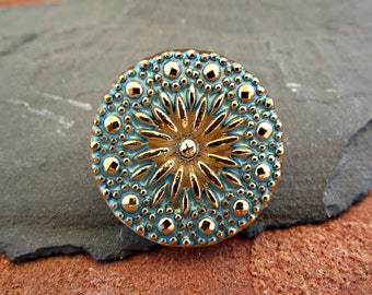 Czech Glass Button 27mm Gold Turquoise Pinwheel Flower I-3 Handmade closure pendant boho shabby chic closure embellishment sewing knitting