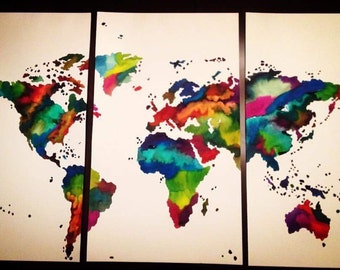 Large 3 piece customized travel map