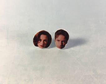 X-Files Scully and Mulder Stud Earrings