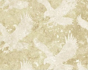 Ivory Eagle Tonal Stars and Stripes Stonehenge Quilt Fabric by the 1/2 yard