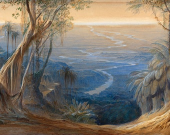 """Edward Lear : """"Plains of Bengal, from above Siligoree"""" (1874) - Giclee Fine Art Print"""