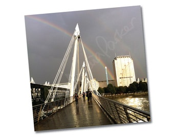 "Greeting card –""Rainbow over Southbank"" – FREE UK postage"