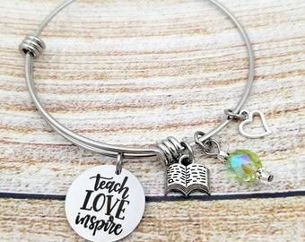 Teach Love Inspire Customizable Expandable Bangle Charm Bracelet, teacher gift, mentor gift, school, student, leader, coach,