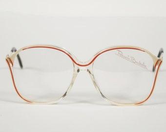 Renato Balestra NOS 1970s Vintage Clear Plastic Red Accent Eyeglasses Frames