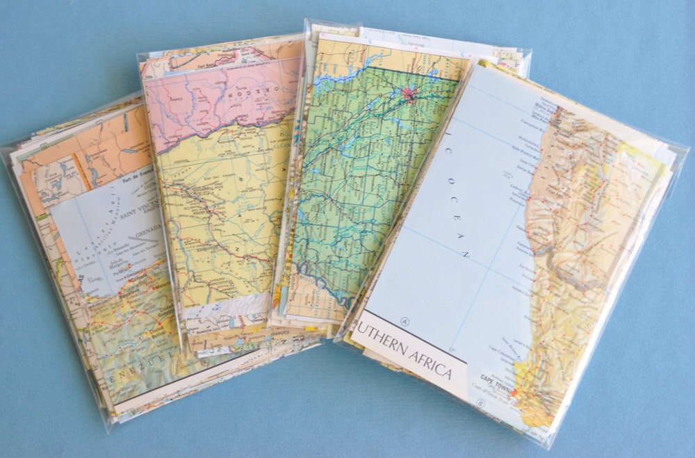 Map Paper Scrap Pack 50+ pieces Scrapbook Paper DIY Wedding Decorations
