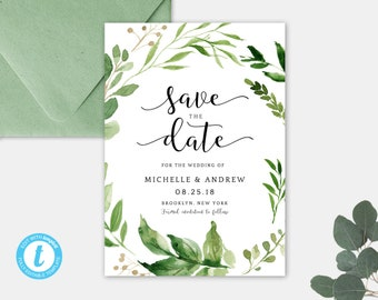 Save the Date Wedding card, Greenery save the date Eucalyptus Green Invitation, Save the Date Invite, Editable Template, Instant Download GT