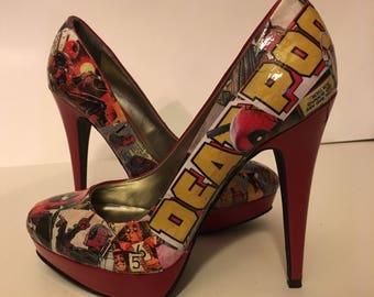 Deadpool Comic Heels (Size 7)