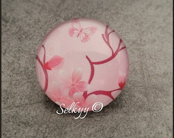 Floral round glass dome 25mm pink flowers amid pink cabochon