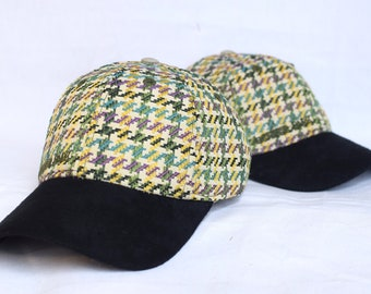 Houndstooth 6 panel cap woven textile