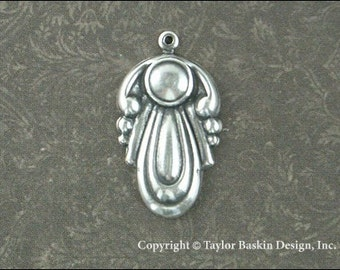 Antiqued Sterling Silver Plated Art Nouveau Type Dapped Component (item 1686-Q AS)