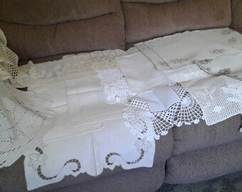 Lot of 17 vintage crocheted and embroidered cotton and linen doilies