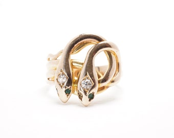 Antique Serpent or Snake Ring | Two Headed Snake Ring |  Diamond | Yellow Gold | Item 96618