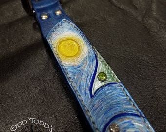 Ready to ship! Inspired impressionist leather dog collar