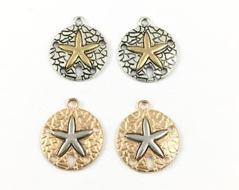 4 sand dollar charms silver and gold tone 20mm x 23mm #CH 294