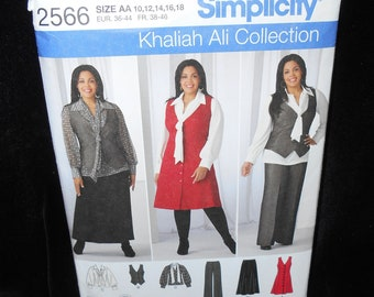 Misses Pants Simplicity 2566 Womens Size 10-18 Khaliah Ali Collection Wardrobe Skirt Blouse Jumper Vest