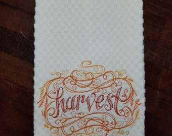 Harvest Swirls Embroidered Towel - Made to Order