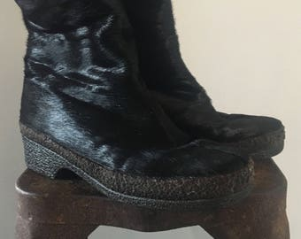 Black Goat Fur Ankle Boots by St. Moritz