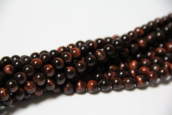 """Red Tiger Eye 8mm smooth round beads 16"""" length full strand"""