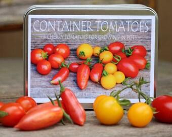 Tomato gift, heirloom seeds, garden gift set, Small space garden gift, Container tomato,  dwarf tomato seeds, plant lovers gift urban garden