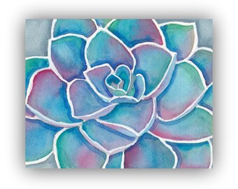 Succulent Watercolor Painting Print - Blue Echeveria Wall Art - Blue and Purple Succulent Illustration Watercolor Art Print, 8x10