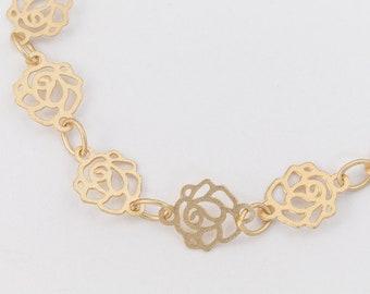Matte Gold 6.5mm Rose Chain #CC137