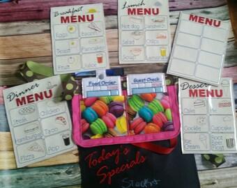 Restaurant toys - Restaurant play set - pretend restaurant - waiter - waitress - pretend menus - pretend play - play kitchen- pocket apron