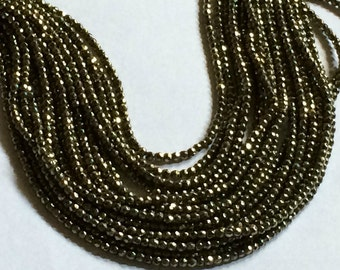 """12.75"""" Strand 2mm Round Faceted Pyrite Beads"""