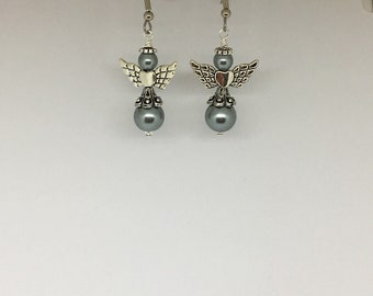 Angel Earrings with Black Glass Pearl Beads, Angel Jewelry, Angel Earrings, Beaded Angel Earrings, Beaded Angel Jewelry, Angel