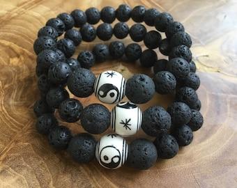 Unisex Stone Bracelet, Natural Lava Stone Bracelet, Diffuser Bracelet, Lava Diffuser Bracelet, Stretchy Diffuser