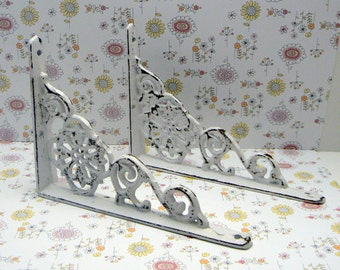 "Wall Bracket Cast Iron Shelf Ornate 4 5/8"" x 6 3/8"" Brace Shabby Elegance Classic White Floral Distressed 1 Pair (2 individual brackets)"